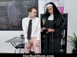 Horny Nun Teacher Fucks Her Students
