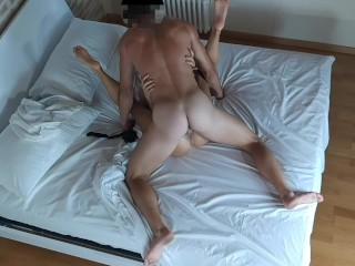 'Real cuckold couple spy her horny wife cheating and fucking the Bull big cock'