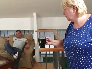 Busty blonde grandma sucks and rides his cock
