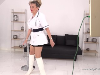 'Busty blonde nurse Lady Sonia cant wait to play with herself'
