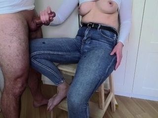'amateur milf with natural small tits jerks me off in tight jeans'