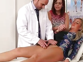 Horny doctor lets his slutty patients pay for his services with sensual handjobs and deep blowjobs