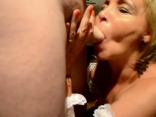 Horny mature slut gives me some great blowjob standing on her knees
