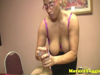Bigtitted milf teacher tugs in office