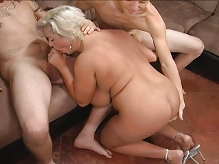 Blond mom in a threesome.