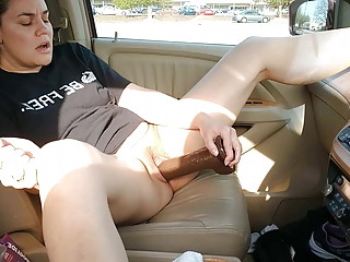 Hubby films Wife fucking her BBC dildo in mall parking lot