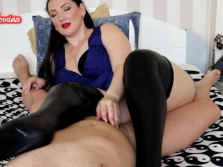 Latex Stockings Handjob from the Queen of Long Nails